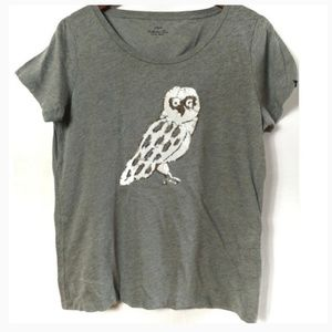 J crew gray sequin owl short sleeve tee shirt top